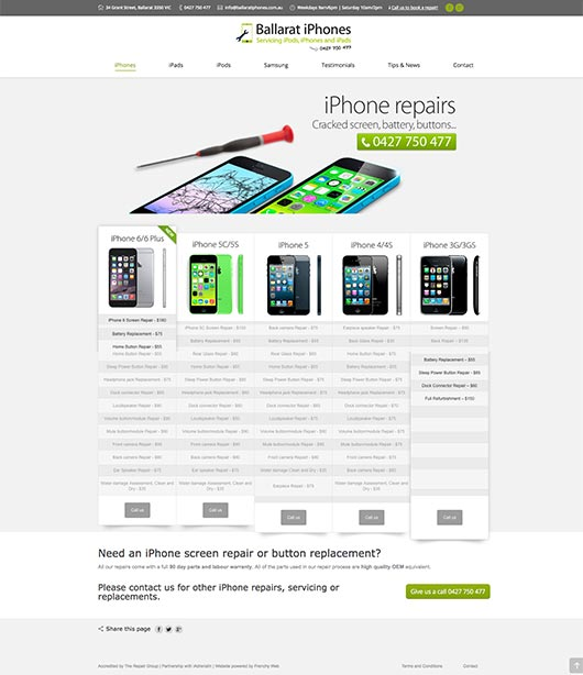 Web Design - California - iPhone Repairs